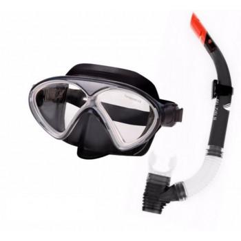 Фото Маска с трубкой DOLPHIN JR SET (DOLPHIN JR SET-BLK/GRA/BLK), Цвет - черный, серый, прозрачный, Маски для плавания