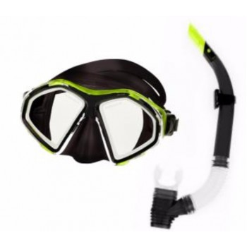 Фото Маска с трубкой SEAL SET (SEAL SET-BLACK/LIME), Цвет - черный, лайм, прозрачный, Маски для плавания