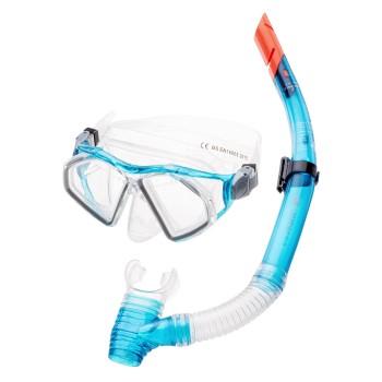 Фото Комплект маска и трубка SEAL SET (SEAL SET-TURQUOISE/TRANSPARENT), Цвет - бирюзовый, прозрачный, Маски для плавания
