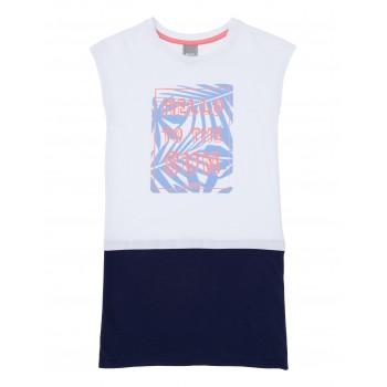Фото Платье HELLO DRESS (BKGS002030-BL11213), Цвет - белый, синий, Платья
