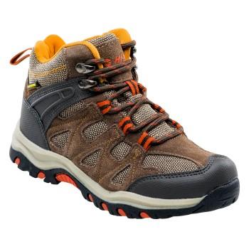 Фото Ботинки KAORI MID WP JR (KAORI MID WP JR-BROWN/ORANGE), Цвет - коричневый, темно-коричневый, оранжевый, Городские ботинки